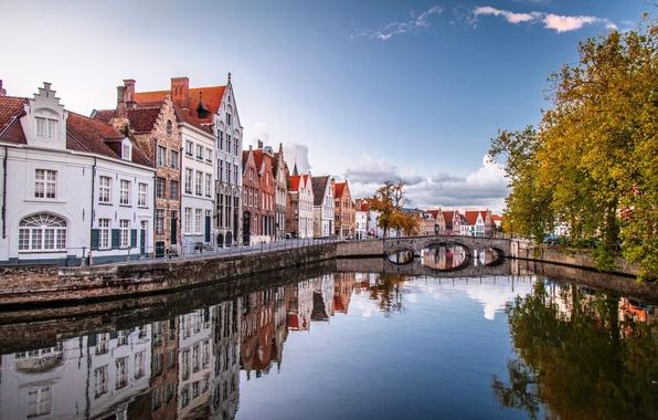 Picture autumn, water, trees, bridge, the city, home, Belgium, Belgium, Bruges, Brugge