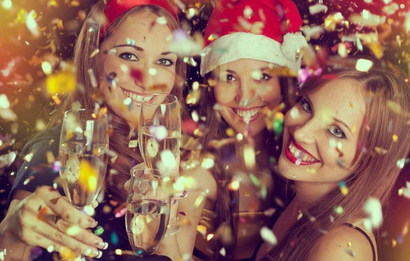 Picture mood, Girls, Christmas, New year, Champagne