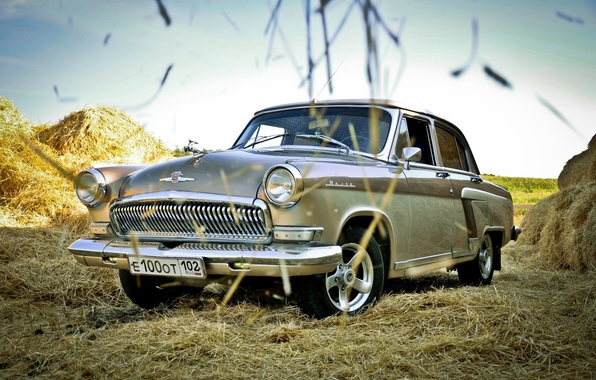 "Picture straw, sedan, classic, view, car, ""Volga"", GAZ-21, GAZ-21, ""Volga"""