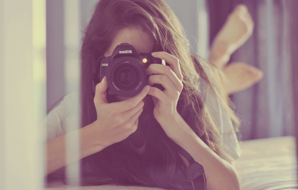 Picture girl, pose, camera, the camera, lies, photographs