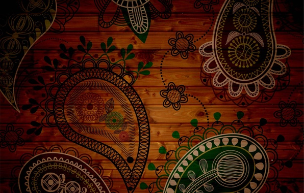 Picture flowers, green, background, patterns, texture, petals, brown