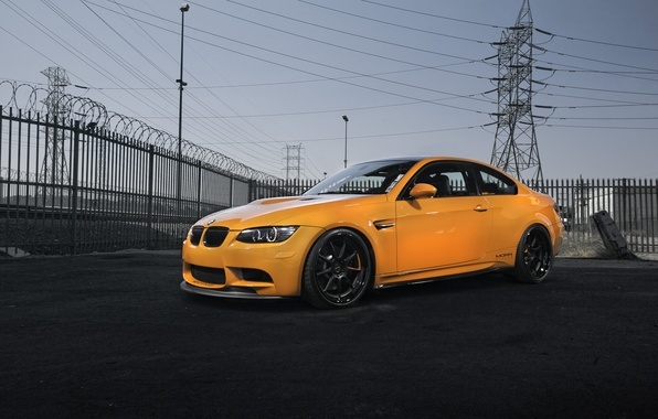 Picture the sky, orange, black, bmw, BMW, drives, side view, orange, e92, power lines