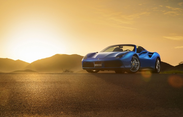 Picture Ferrari, Blue, Front, Sunset, Spider, Supercar, 488