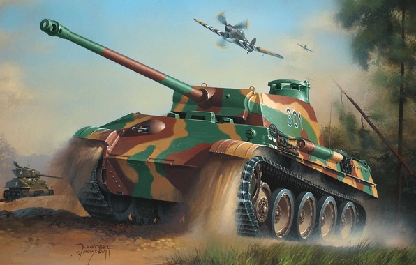 Picture war, art, army, painting, drawing, ww2, the hawker tempest, geman tanks, sherman tank, panther tank