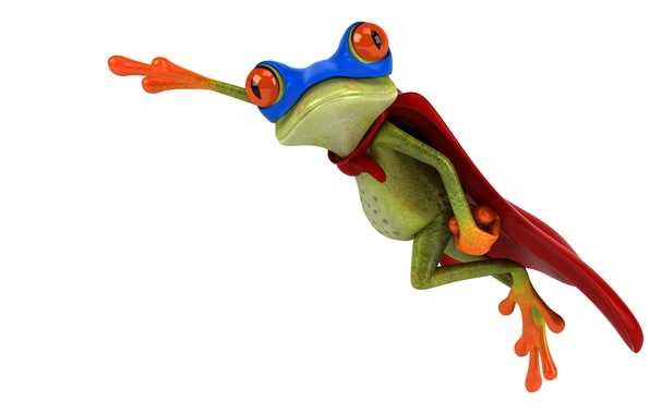 Picture graphics, frog, costume, Superman, free frog