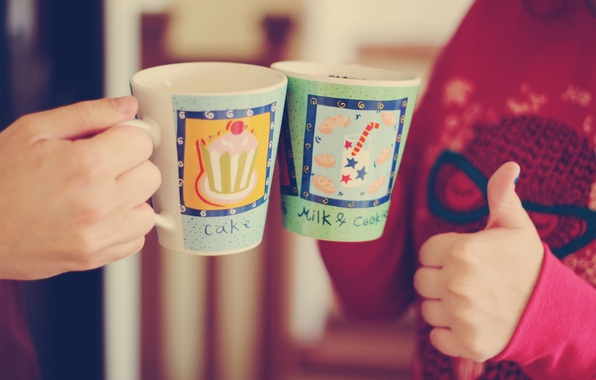 Picture girl, situation, mood, sign, Wallpaper, figure, hand, milk, cake, mugs, guy, super, cake, widescreen, wallpapers, …