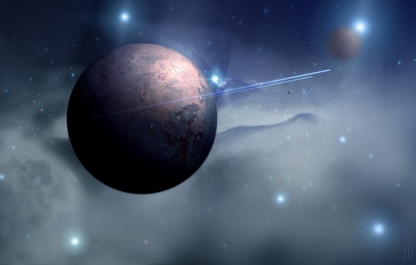 Picture space, flight, nebula, trail, planet, ships