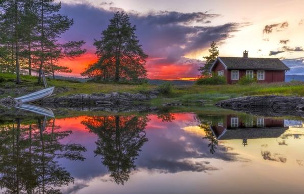Picture trees, sunset, lake, house, reflection, boat, Norway, Norway, RINGERIKE, Ringerike