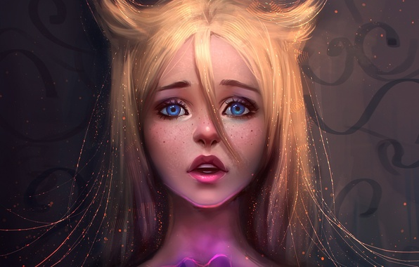 Picture eyes, look, girl, face, anime, art, blonde, lips