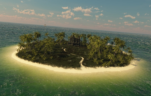 Picture sea, palm trees, castle, the ocean, ship, island, art, track, mansion