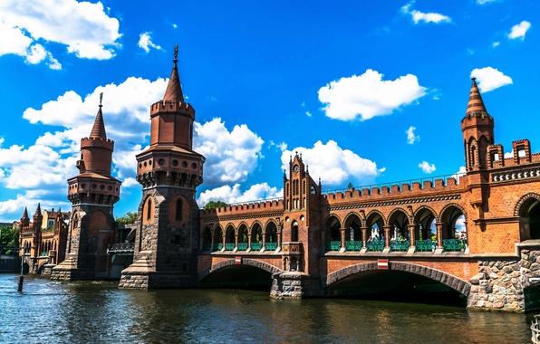 Picture the sky, clouds, bridge, design, river, Germany, tower, architecture, Berlin