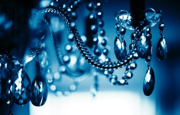 Picture glass, drops, blue, blue, dark, chandelier
