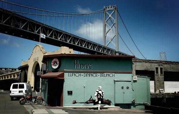 Picture bridge, star wars, San Francisco, diner, scout