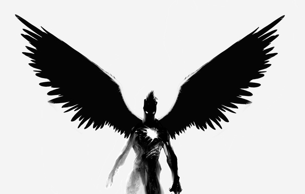Picture black, heart, wings, the demon, soul