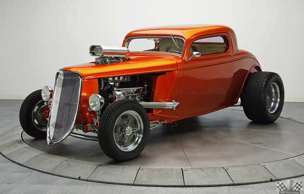 Picture Ford, Hot Rod, Coupe, Classic cars, TH350, Tan, 1933, Kandy Orange Glow, 468 V8, 3 …