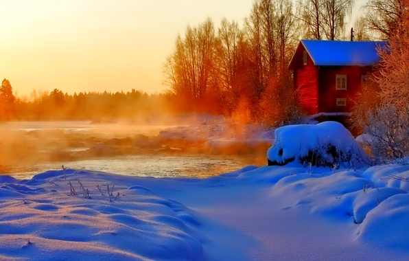 Picture winter, the sky, snow, trees, sunset, house, river, couples