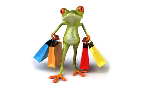 Picture graphics, frog, bags, purchase, packages, Free frog 3d