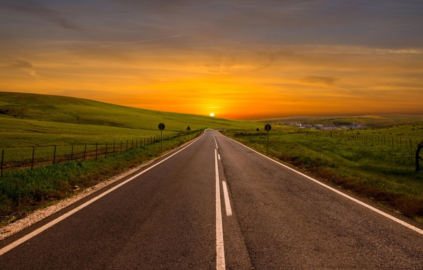 Picture road, the sky, the sun, landscape, hills, view, field, turn, horizon, the area, bending, grass, …