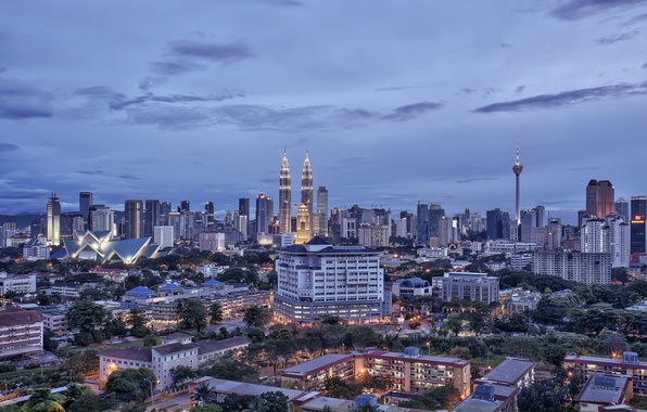 Picture the sky, clouds, building, home, skyscrapers, the evening, Malaysia, capital, Kuala Lumpur, Malaysia, capital, Kuala …