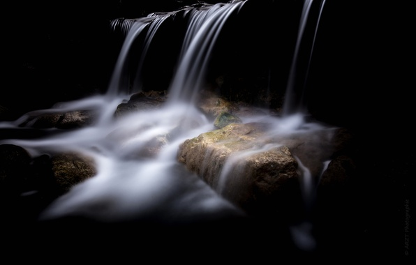 Picture stream, stones, the darkness, waterfall, cave