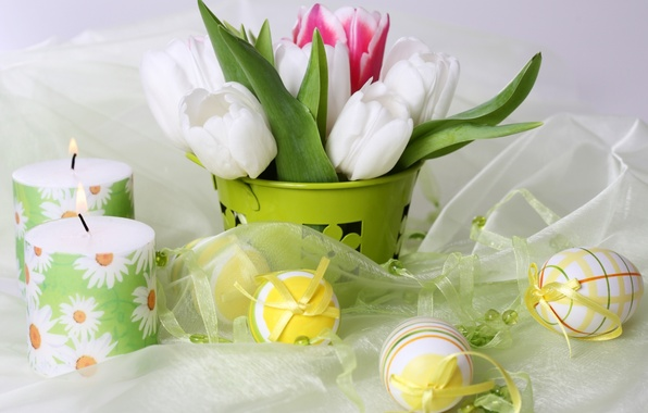 Picture flowers, holiday, eggs, candles, tulips, Easter