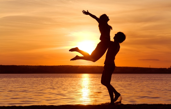Picture freedom, sunset, romance, tenderness, feelings, pair, love, relationship, support, pleasure, passion, Sunset sensuality
