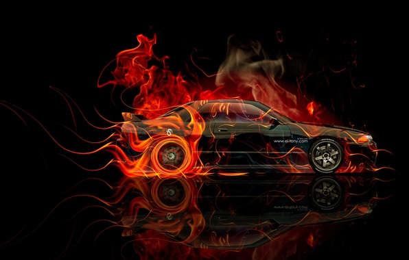 Picture Black, Machine, Nissan, Wallpaper, GTR, Background, Orange, Nissan, Fire, Car, Art, Art, Photoshop, Photoshop, R32, …