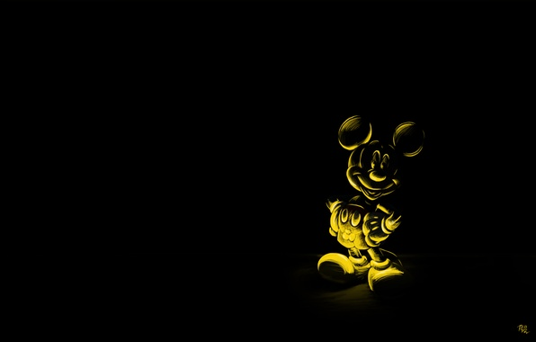 Picture cartoon, mouse, black background, character, Mickey mouse, mickey mouse
