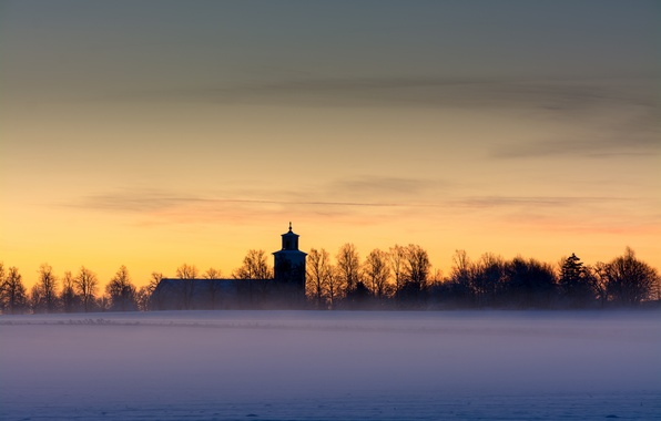 Picture winter, field, the sky, clouds, snow, trees, fog, dawn, morning, yellow, Sweden, Church