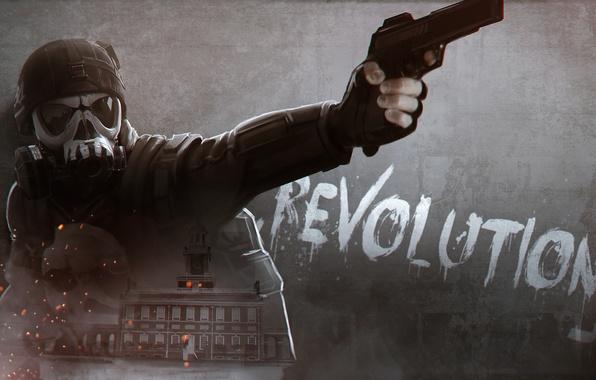 Picture gun, soldiers, gas mask, helmet, male, revolution, Homefront: The Revolution