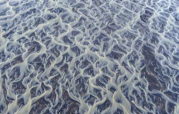 Picture patterns, texture, Iceland, threads, river, the view from the top, streams, glacial mud, volcanic dust, ...