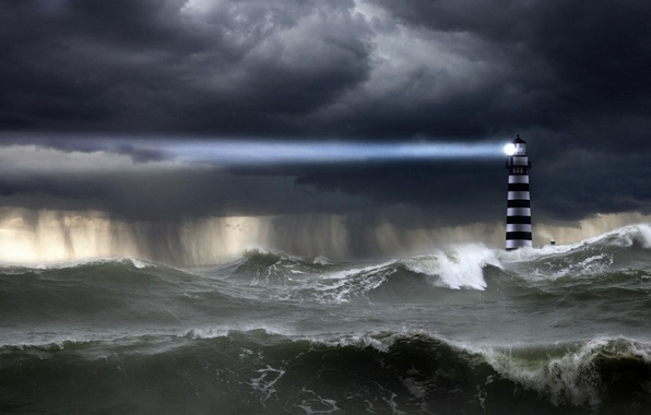 Picture The OCEAN, The SKY, ELEMENT, WAVE, RAIN, The SHOWER, LIGHTHOUSE, RAY, CLOUDS, LIGHT, STORM