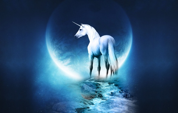 Photo wallpaper blue, planet, unicorn