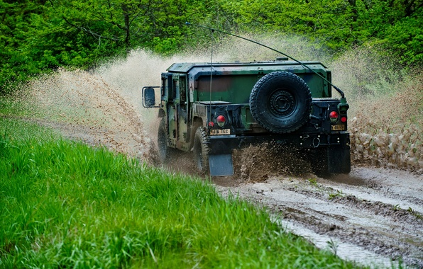 Picture forest, squirt, dirt, SUV, Hummer