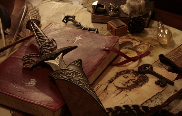 Picture weapons, table, figure, sword, key, book, The hobbit