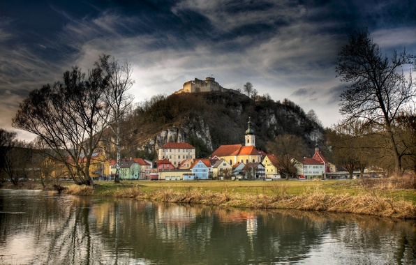 Picture autumn, trees, river, rocks, shore, mountain, home, Germany, Bayern, fortress, town, Kallmuenz