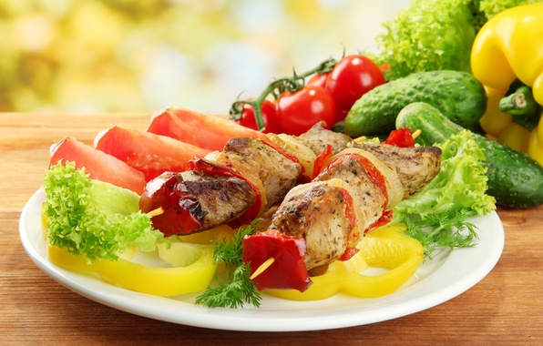Picture greens, meat, pepper, vegetables, tomatoes, kebab, meat, pepper, vegetables, tomato