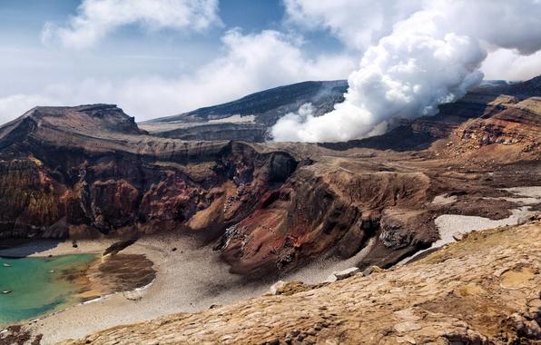 Picture mountains, stones, smoke, the volcano, Russia, Kamchatka, breed, Kamchatka