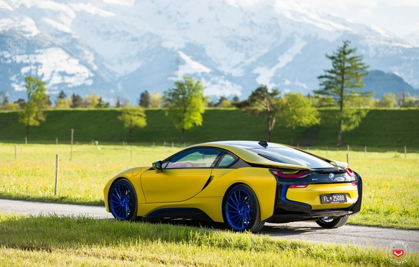 Picture car, mountains, bmw, tuning, yellow