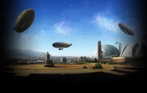 Picture the sky, the city, the game, art, the airship, the dome, futurism, Inbetween Land