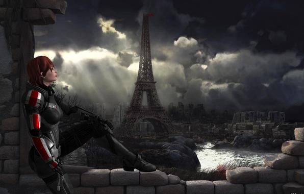Picture look, girl, background, destruction, armor, sitting, mass effect, Shephard