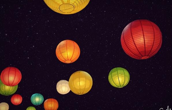 Picture the sky, stars, night, lanterns