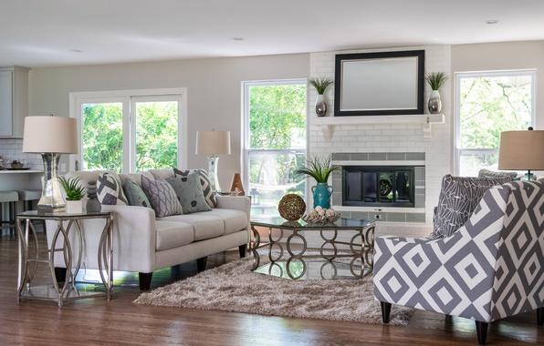 Picture design, sofa, fireplace, living room, decor