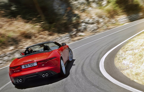 Picture movement, Jaguar, red, convertible, red, rear view, jaguar, f-type