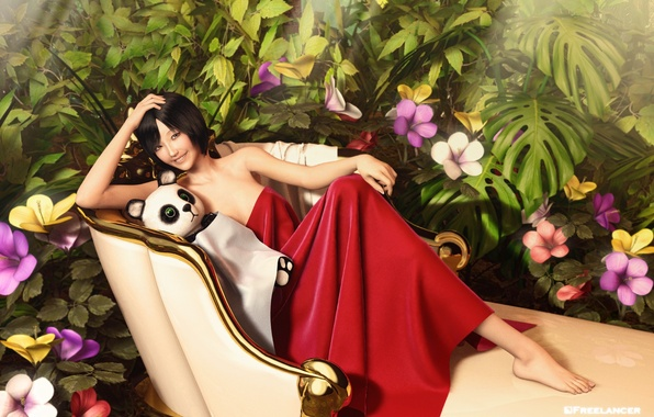 Picture look, girl, flowers, pose, rendering, Panda, Asian, soft toy