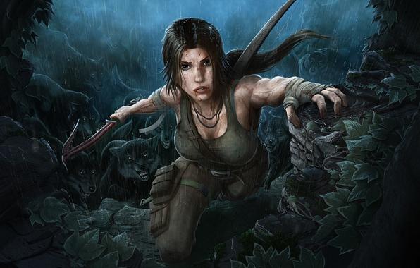 Picture girl, rain, brunette, Tomb Raider, beauty, Lara Croft