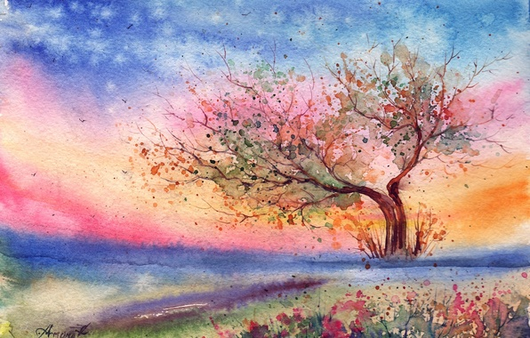 Picture grass, flowers, tree, the wind, the evening, watercolor, painted landscape