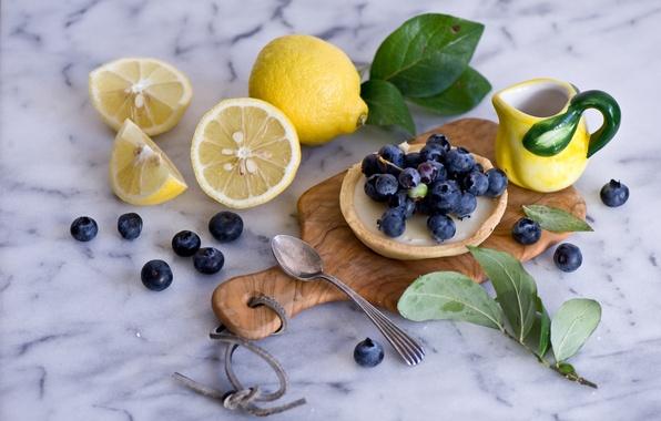 Picture berries, spoon, cake, leaves, still life, lemons, blueberries