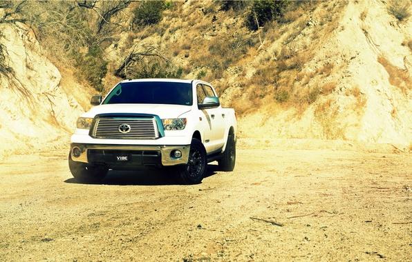 Picture desert, white, pickup, toyota, front, Toyota, tundra