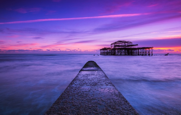 Picture sea, the sky, clouds, sunset, Strait, shore, England, the evening, pierce, UK, blue, lilac, Brighton